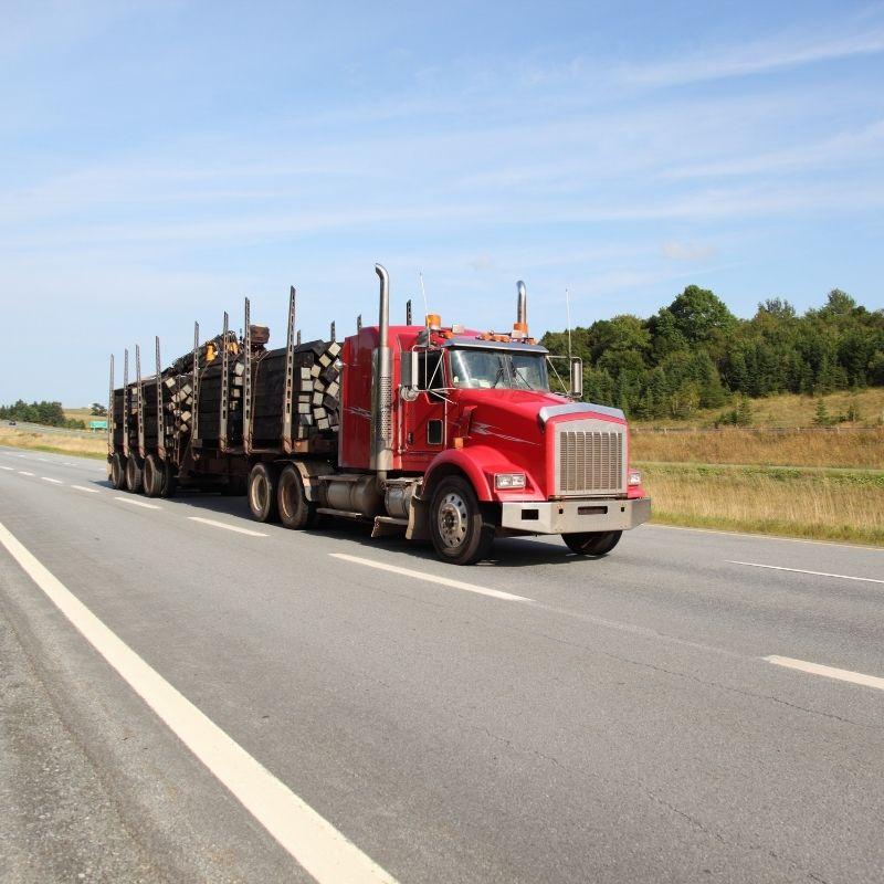 Semi truck hauling on highway